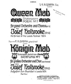 Poem No.7 Queen Mab (Queen Mab, Poem No.... Volume Op.45 by Holbrooke, Joseph