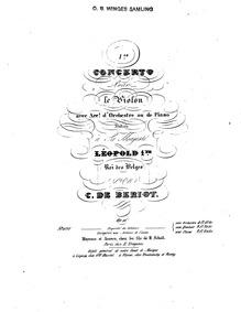 Violin Concerto No.1, Op.16 : Complete S... Volume Op.16 by Bériot, Charles-Auguste de