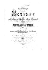 String Sextet, Op.27 : Violin 1 Volume Op.27 by Wilm, Nicolai von