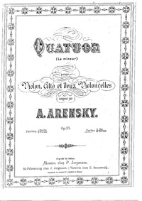 String Quartet No.2 (Quatuor pour violon... Volume Op.35 by Arensky, Anton