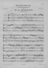 Divertimento (Trio) : Complete Score Volume K.563 by Mozart, Wolfgang Amadeus