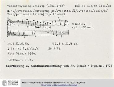 Burlesque de Quichotte (Ouverture Don Qu... Volume TWV 55:G10 by Telemann, Georg Philipp