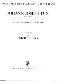 Keyboard Works : Complete Score by Fux, Johann Joseph