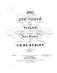 Air with Variations No.8, Op.42 (8me Air... Volume Op.42 by Bériot, Charles-Auguste de