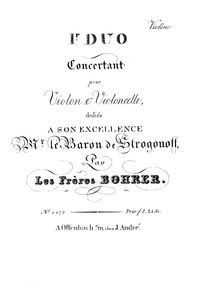 Duo Concertante No.1 for Violin and Cell... by Bohrer, Antoine