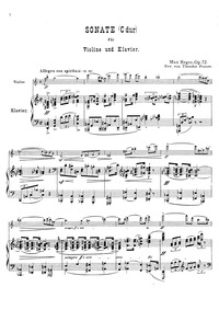 Violin Sonata No.4, Op.72 : Piano Score ... Volume Op.72 by Reger, Max