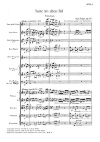 Suite im alten Stil, Op.93 : Full score Volume Op.93 by Reger, Max