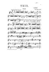 Piano Trio, Op.19 : Violin part Volume Op.19 by Glass, Louis