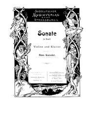 Violin Sonata : Piano Score by Koessler, Hans