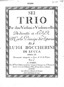 6 String Trios, G.89-94 (Op.6) : Cello Volume G.89-94 ; Op.6 in Boccherini's autograph catalogue, first published as Op.9 by Boccherini, Luigi