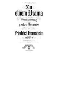 Zu einem Drama, Tondichtung für grosses ... Volume Op.82 by Gernsheim, Friedrich
