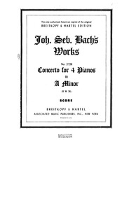 Concerto for 4 Harpsichords in A minor, ... Volume BWV 1065 by Bach, Johann Sebastian