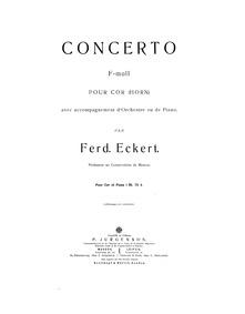 Horn Concerto No.1 : Piano Score by Eckert, Ferdinand Ferdinandovich