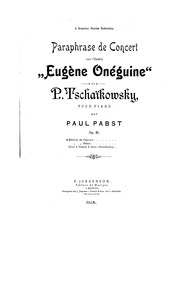 Concert Paraphrase on 'Eugene Onegin, Op... by Pabst, Paul