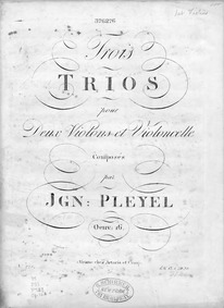 6 String Trios, B.404-409 : Violin 1 Volume B.404–409; No.1-3 published as Op.16, No.4-6 as Op.17 (Vienna: Artaria); B.405, 408, 409 published as Op.18 Book II (Berlin: Hummel) by Pleyel, Ignaz