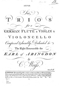 6 Trios (Six trios, for a German flute, ... by Weiss, Karl