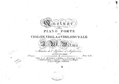 Piano Quartet in C major (Quatuor pour p... Volume Op.22 by Wilms, Johann Wilhelm