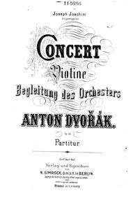 Violin Concerto (Koncert pro housle a or... Volume 1st version, B.96 2nd version, Opus 53, B.108 by Dvořák, Antonín