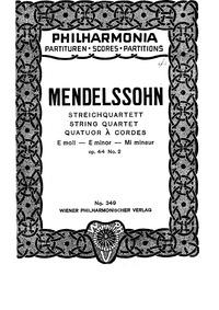 String Quartet No.4, Op.44 No.2 : Comple... Volume Op.44 No.2 by Mendelssohn, Felix