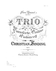 Piano Trio No.1, Op.23 : Piano Score Volume Op.23 by Sinding, Christian