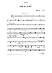 Sarabande et menuet, Op.72 : Clarinet Volume Op.72 by Indy, Vincent d'