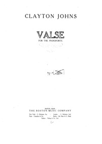 Valse : Complete Score by Johns, Clayton