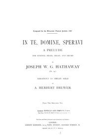 In te, Domine, speravi (Prelude for Stri... Volume Op.24 by Hathaway, Joseph William George