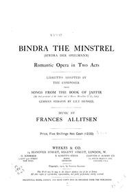 Bindra the Minstrel (Romantic Opera in T... by Allitsen, Frances