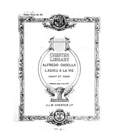 L'adieu à la vie (Quatre lyriques funèbr... Volume Op.26 by Casella, Alfredo