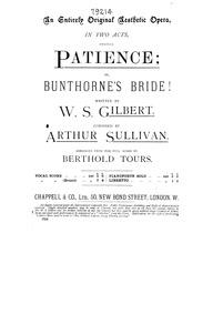 Patience, or Bunthorne's Bride (Comic Ae... by Sullivan, Arthur