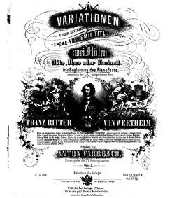 Variationen über ein Lied von Emil Titl,... Volume Op.3 by Fahrbach, Anton