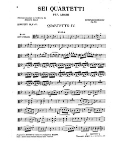 6 String Quartets, G.165-170 (Op.8) : Vi... Volume G.165-170, Op.8 in Boccherini's autograph catalogue, published as Op.6 by Boccherini, Luigi