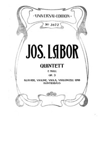Piano Quintet, Op.3 : Piano Score, Part ... Volume Opus 3 by Labor, Josef