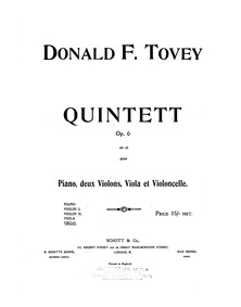 Piano Quintet, Op.6 : Cello Volume Op.6 by Tovey, Donald Francis