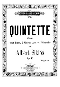 Piano Quintet, Op.40 : Violin 2 Part Volume Op.40 by Siklós, Albert