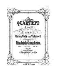 Piano Quartet No.2, Op.20 : Piano Score Volume Op.20 by Gernsheim, Friedrich