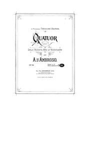String Quartet, Op.42 : Viola Volume Op.42 by D'Ambrosio, Alfredo