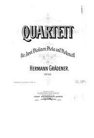 String Quartet No.1, Op.33 : Full Score Volume Op.33 by Grädener, Hermann