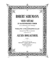 6 Studien in kanonischer Form, Op.56 : V... Volume Op.56 by Schumann, Robert