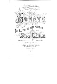 Sonata for Piano 4-hands, Op.33 : Comple... Volume Op.33 by Lange Jr., Samuel de
