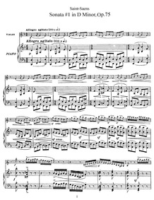Violin Sonata No.1, Op.75 : Piano (Score... Volume Op.75 by Saint-Saëns, Camille