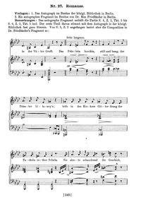 Romanze, D.114 (Romance) : Sketch (from ... Volume D.114 by Schubert, Franz