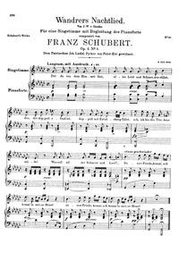 Wayfarer's Night Song : Complete score O... Volume D.224 (Op.4 No.3) by Schubert, Franz
