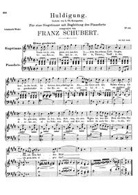 Huldigung, D.240 (Homage) : Complete sco... Volume D.240 by Schubert, Franz