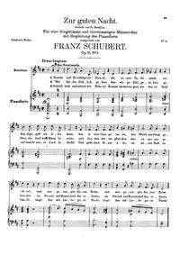 Good Night : Complete Score Volume D.903 (Op.81 No.3) by Schubert, Franz
