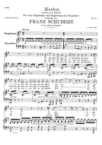 Herbst, D.945 (Autumn) : Voice + piano s... Volume D.945 by Schubert, Franz
