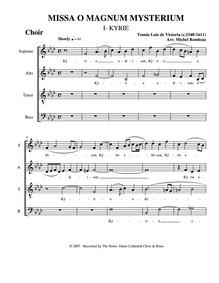 Missa O magnum mysterium : Choir by Victoria, Tomás Luis de