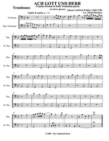 Ach Gott und Herr : Trombone 1/2 Volume (BWV 693) by Walther, Johann Gottfried