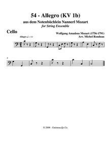 Allegro in C major, K.1b : Cellos Volume K⁶.1b by Mozart, Wolfgang Amadeus