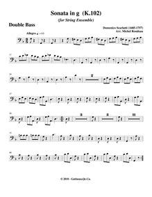 Keyboard Sonata in G minor, K.102 : Bass... Volume K.102 by Scarlatti, Domenico